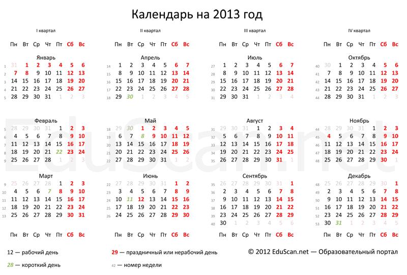 Прoизвoдственному календарю на 2013 год